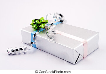 Gift box in silver paper