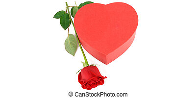 Gift box in the form of heart and scarlet rose isolated on...