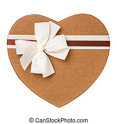 Gift box in the form of heart close up.