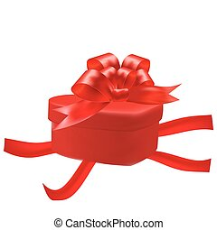 Gift box in the shape of a heart with a red bow on a white background. Red ribbons. illustration