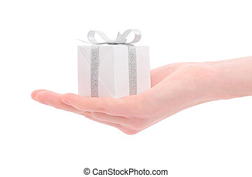 gift box in woman's hand