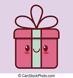 gift box kawaii icon image