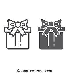 Gift box line and glyph icon, package and surprise, present sign, vector graphics, a linear pattern on a white background.
