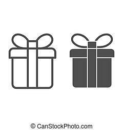 Gift box line and glyph icon. Present box vector illustration isolated on white. Package with ribbon outline style design, designed for web and app. Eps 10.