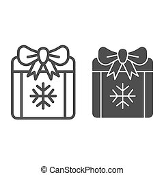 Gift box line and glyph icon. Xmas present vector illustration isolated on white. Present with bow outline style design, designed for web and app. Eps 10.