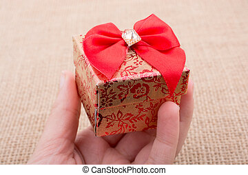 Gift box made of cardboard in view