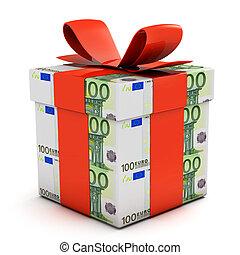 Gift box made of euro banknotes