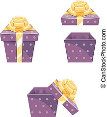 Gift Box New Year Cartoon Flat Design Icon Set Template Vector Illustration