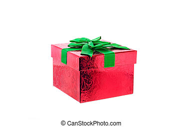 Gift box on a white background with clipping path