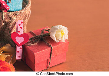 gift box on a wooden.