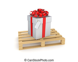 Gift box on a wooden pallet.