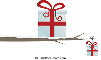 gift box on branch isolated white