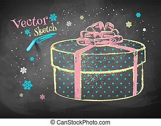 Gift box on chalkboard background.