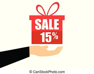 Gift box on the hand with a 15 percent discount, flat style. Special offer holiday. Coupon for sale. Vector illustration