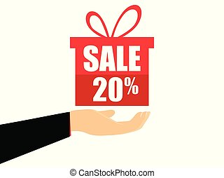 Gift box on the hand with a 20 percent discount, flat style. Special offer holiday. Coupon for sale. Vector illustration