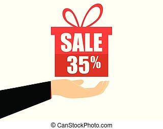 Gift box on the hand with a 35 percent discount, flat style. Special offer holiday. Coupon for sale. Vector illustration