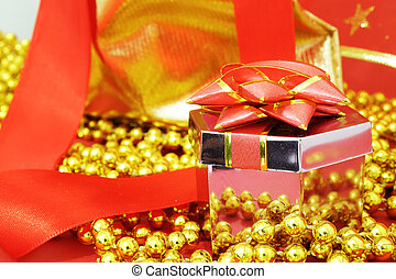 Gift box on the red background