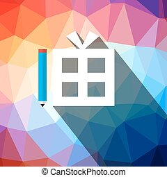 Gift Box on Triangle Background Vector