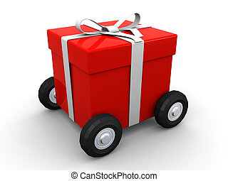 gift box on wheels - 3d illustration of a red gift box with ...