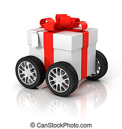 gift box on wheels - car, new, customer, red, coupon, 3d,...
