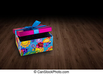 gift box on wooden background.