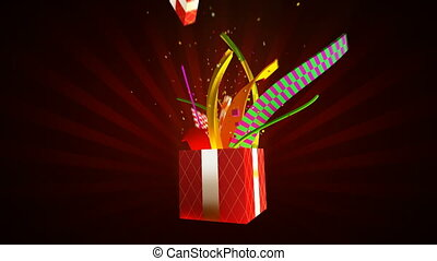Opening gift box with ribbons and confetti. Alpha channel included