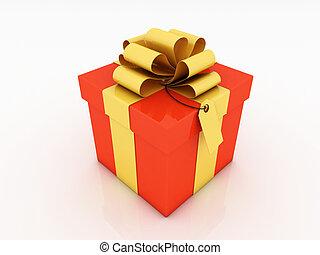 gift box over white background 3d illustration