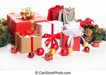 gift box over white background.