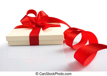 gift box over white background with clipping path