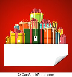 Gift Box Pile on Red Background. Vector Present Boxes with Empty Sticker.