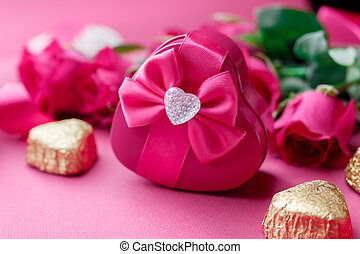 Gift box, Pink roses and candy. Valentines Day