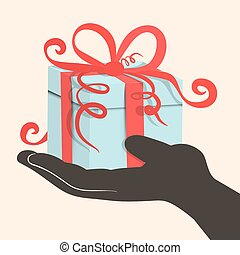 Gift Box - Present in Hand - Retro Vector Illustration