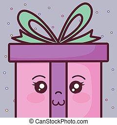 gift box present kawaii character
