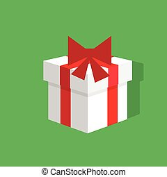 gift box present red over green background flat icon