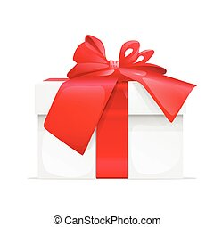 gift box present red ribbon bow