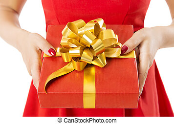 Gift Box Present With Ribbon And Bow, Woman Holding Red Presents