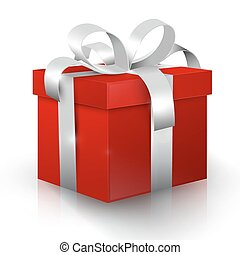 Gift Box. Red 3D Vector Present Box with Silver Ribbon Isolated on White Background.