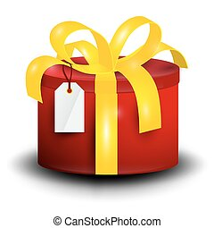 Gift Box. Rounded Red Present Box with Gold Ribbon and Empty Tag Isolated on White Background.