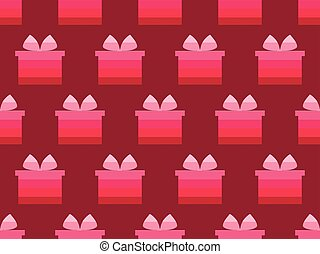 Gift box seamless pattern. Shades of red. Vector illustration