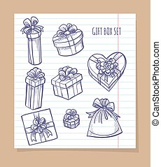 Gift box set on notebook page