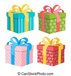 Gift Box Set. Vector Present Boxes Isolated on White Background.
