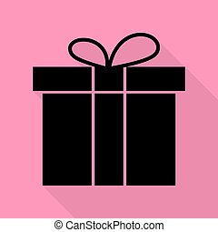 Gift box sign. Black icon with flat style shadow path on pink background.