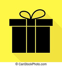 Gift box sign. Black icon with flat style shadow path on yellow background.