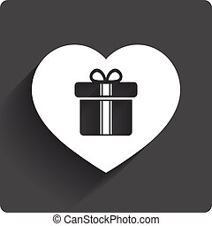 Gift box sign icon. Love Present symbol.