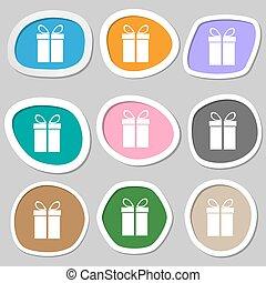 Gift box sign icon. Present symbol. Multicolored paper stickers. Vector