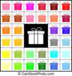 Gift box sign. Vector. Felt-pen 33 colorful icons at white and black backgrounds. Colorfull.