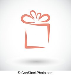 Gift box. Single flat icon on white background. Vector...
