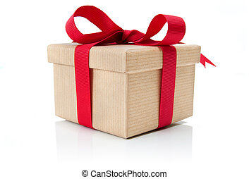 Gift box - Single gift tied with a decorative red ribbon bow...