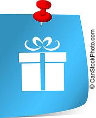 Gift box symbol on blue sticky note