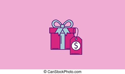 cyber monday concept - gift box tag price cyber monday...